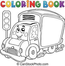 consegna, carino, libro colorante, automobile