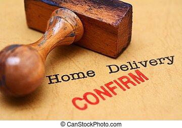 consegna, casa, -, confermare