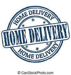 consegna, casa, francobollo