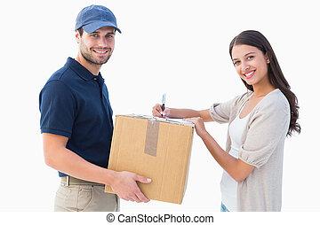 consegna, cliente, felice, uomo