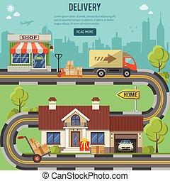 consegna, concetto, shopping