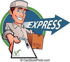 consegna, espresso, uomo