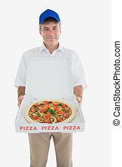 consegna, felice, pizza, presa a terra, uomo