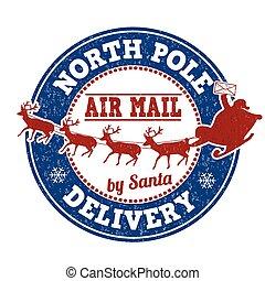 consegna, francobollo, polo, nord