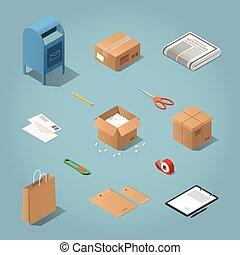 consegna, isometrico, postale, illustrazione