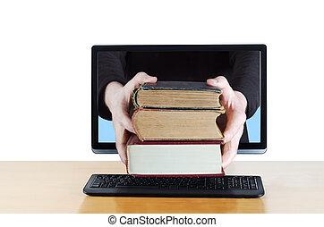 consegna, libro, internet