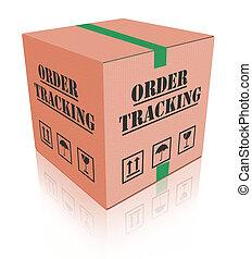 consegna, ordine, inseguimento, carboard, scatola, pacchetto