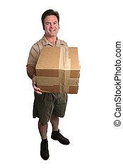 consegna, pieno, -, uomo, vista