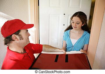 consegna pizza, a casa