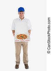 consegna, pizza, presa a terra, ritratto, felice, uomo