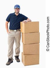 consegna, scatole, cartone, uomo, felice