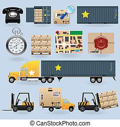 consegna, set, icone