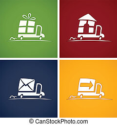 consegna, set, servizio, icone