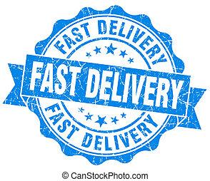 consegna veloce, blu, grunge, sigillo, isolato, bianco