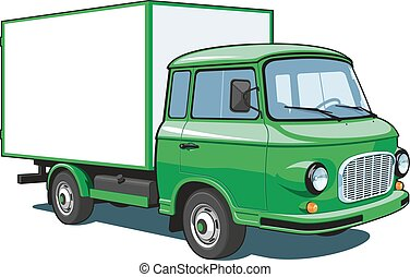 consegna, verde, camion