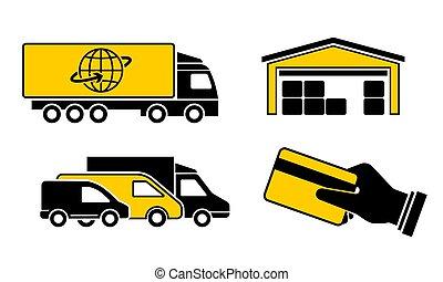 consegna, vettore, set, icone