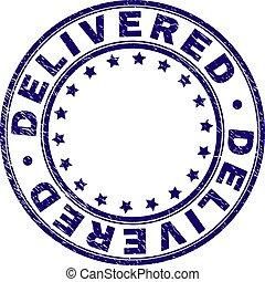 consegnato, grunge, francobollo, textured, sigillo, rotondo