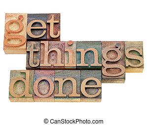 conseguir, cosas, hecho