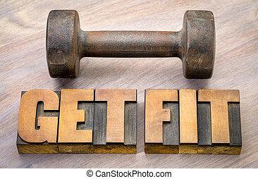 conseguir el ajuste, palabra, resumen, en, madera, tipo