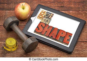 conseguir, en forma, condición física, concepto, en, tableta