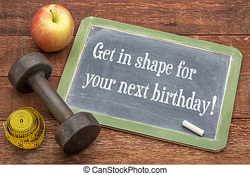 conseguir, en forma, para, su, luego, birthday!