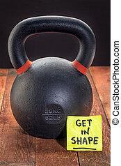 conseguir, en, shpae, con, pesado, hierro, kettlebell