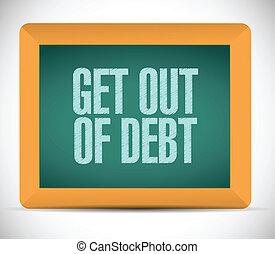 conseguir, ilustración, diseño, mensaje, deuda, afuera