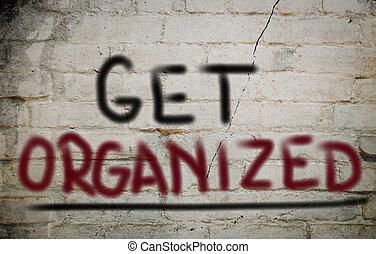 conseguir, organizado, concepto