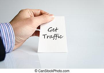 conseguir, tráfico, texto, concepto