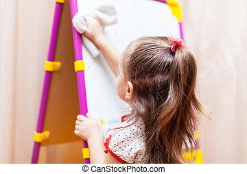 conseil blanc, nettoyage, girl, enfant