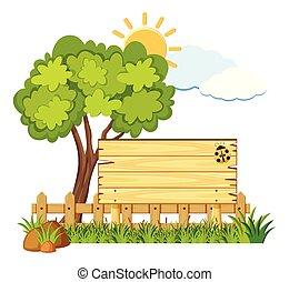 conseil bois, dans, jardin