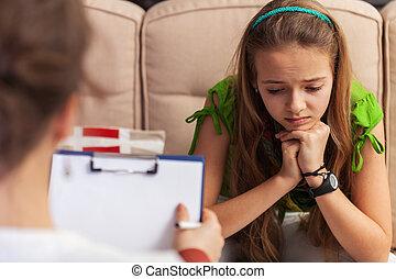 conseil, chercher, séance, aide, triste, -, sofa, conseiller, adolescent, girl