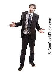 conseil, demander, solutions, fauché, homme affaires, ou