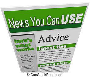 conseil, idées, hints, pointes, newsletter, soutien, ...