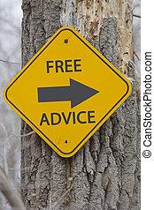 conseil libre, signe flèche, sur, arbre