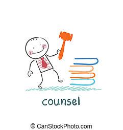 conseil, livres, frappement