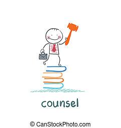conseil, livres, tas, stands