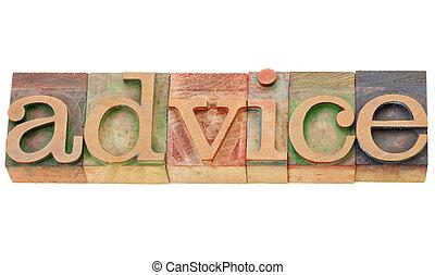 conseil, mot, dans, letterpress, type