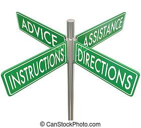 conseil, quatre, directions, 4, manière, intersectio, assistance, instructions