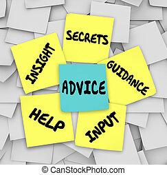conseil, secrets, perspicacité, aide, direction, notes...