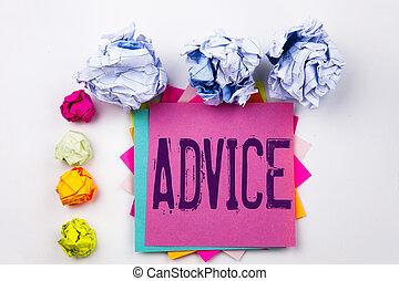 conseil, vis, concept, projection, bureau affaires, texte, direction, isolé, note collante, arrière-plan., écrit, papier, suggestion, balls., écriture, blanc