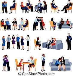 conseiller, familles, problématique, icônes, ensemble, plat