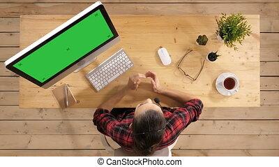 conseiller, maquette, parler., display., appeler, vert, écran, centre, beau