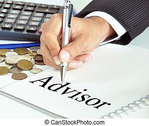 conseiller, mot, sur, les, papier, -, business, &, concept financier