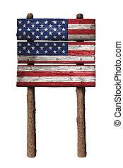 conseils, bois, isolé, drapeau, signe, américain, fond, blanc
