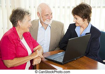consejero, seniors, financiero