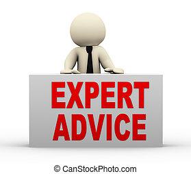 consejo, 3d, -, experto, hombre