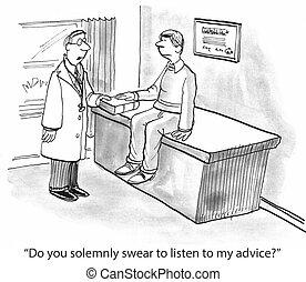 consejo, escuchar, doctor