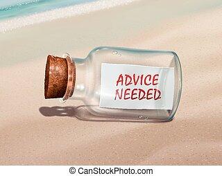 consejo, needed, mensaje en una botella