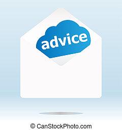 consejo, palabra, azul, nube, blanco, envíe